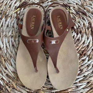 Ralph Lauren Kacy Thong Leather Sandal 10M